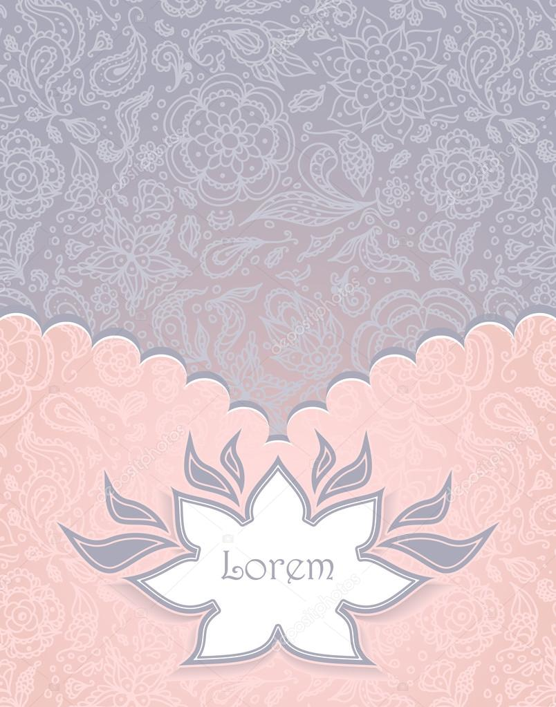 Frame with Seamless abstract floral pattern in pink grey