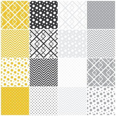 Set of 16 seamless patterns with squares, polka dots and chevron, vector illustration clip art vector