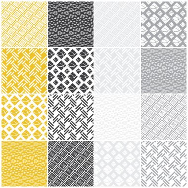 geometric seamless patterns: squares, lines, waves