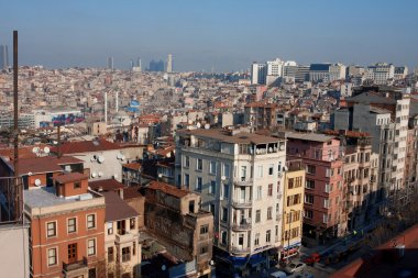 Istanbul streets from top at sunny day
