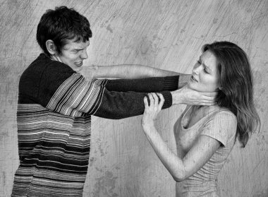 Young couple quarreling and fighting. Black and white