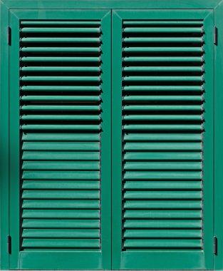 Window with green shutters, Closeup view