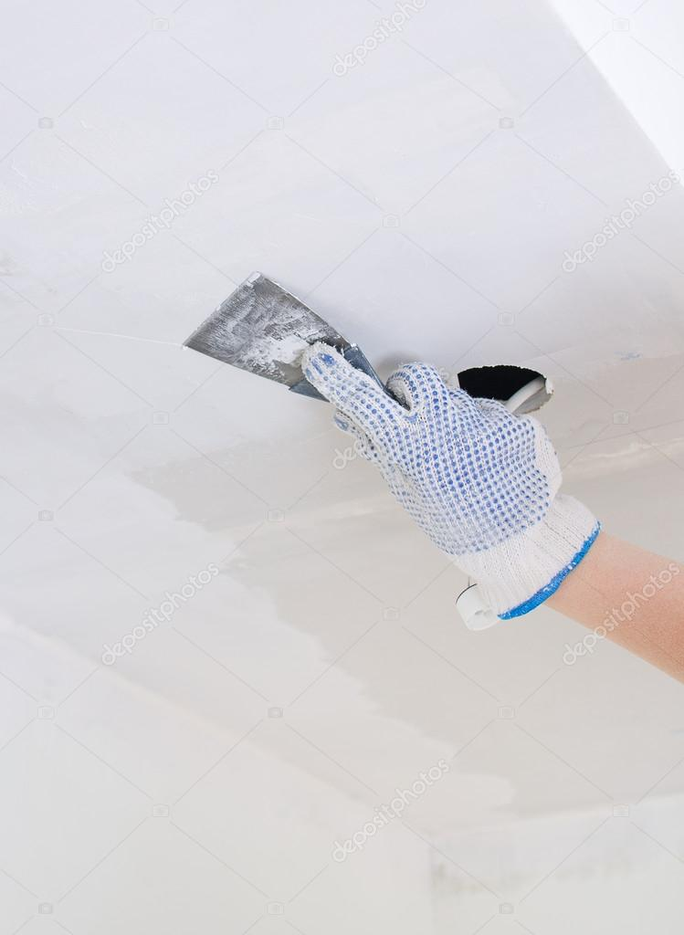 Hand Reparaturen Gips Gipskarton Rahmen mit Spackling-paste ...