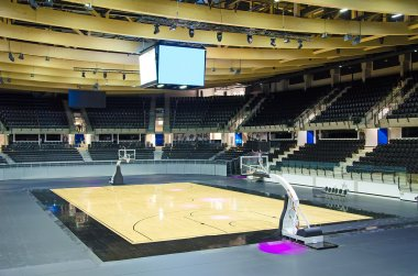 Picture of Empty basketball arena interior.