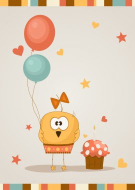 Cute happy birthday card. Vector illustration