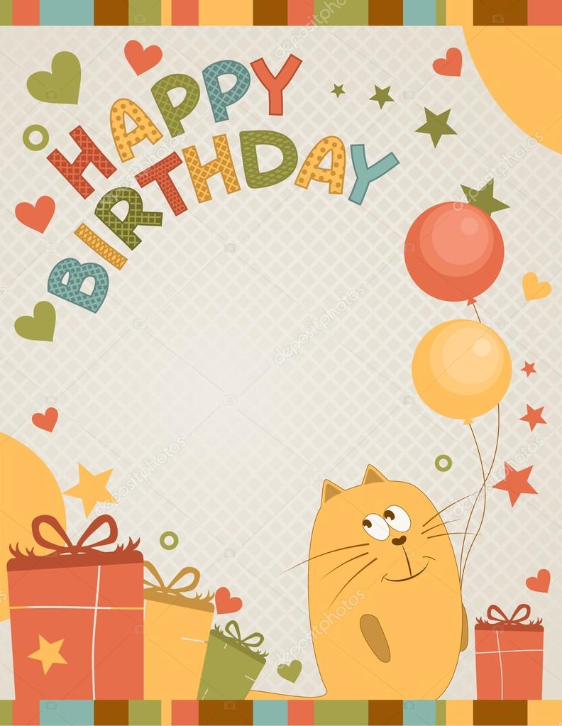 Cute happy birthday card a cat stock vector nnfotograf 17131895 cute happy birthday card a cat stock vector bookmarktalkfo Images