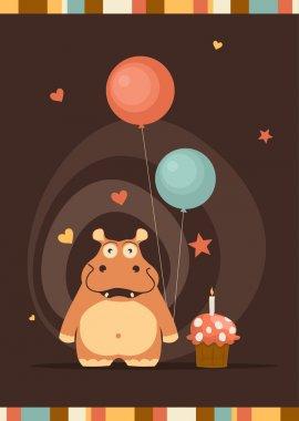 cute happy birthday card with fun hippo