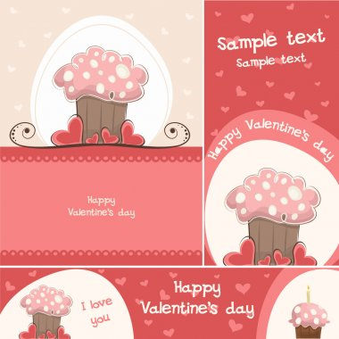 A set of red cake cards