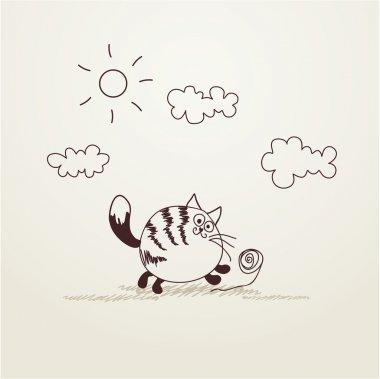 Funny striped cat