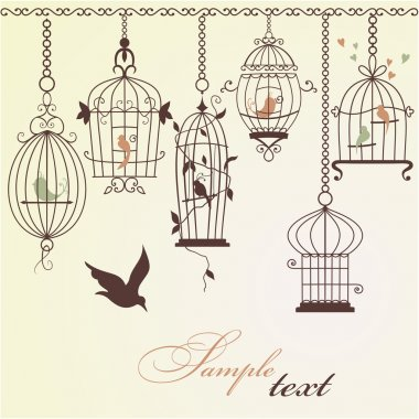 Vintage bird cages.