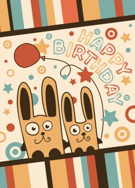 Happy Birthday card with balloons and rabbits
