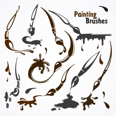 Paint brushes in their work.