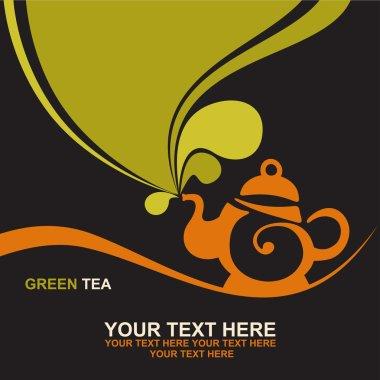 Teapot with green tea.