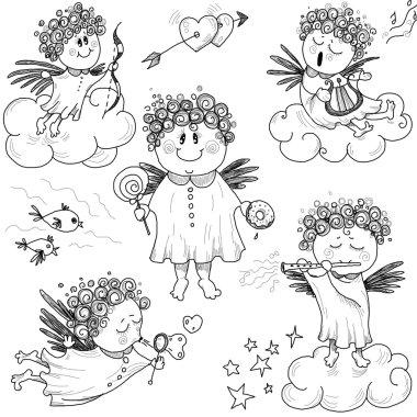 Set of cute little angels