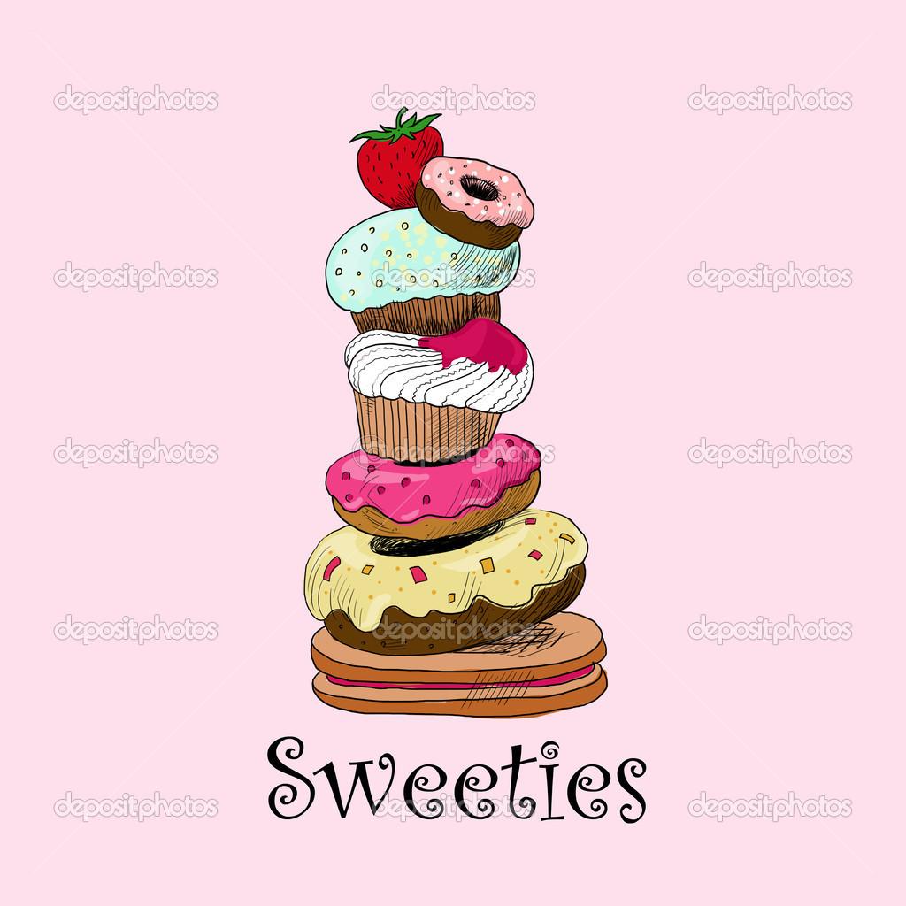 かわいいレトロなカップケーキのイラスト ストック写真 Nnfotograf