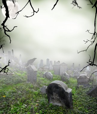 Old ruined graveyard in mystery fog stock vector