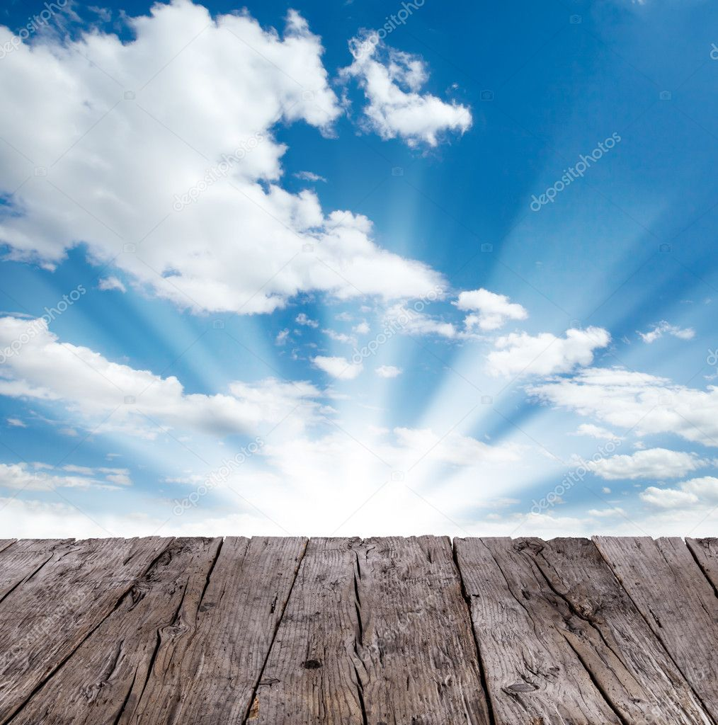 Sky with wooden planks