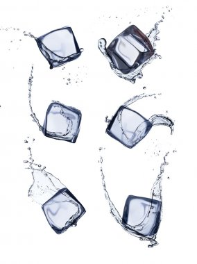 Collection of ice cubes with water splash