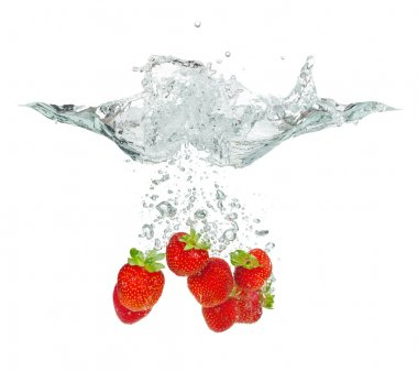Isolated shot of strawberry falling into water, isolated on white background stock vector