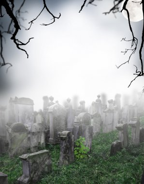 Spooky halloween cemetery with graves stock vector