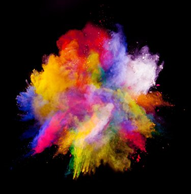 Freeze motion of colored dust explosion isolated on black background stock vector