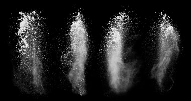 White dust collection on black background