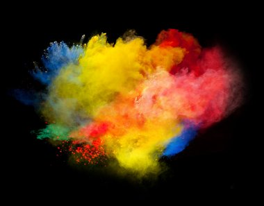 Colored powder isolated on black background stock vector
