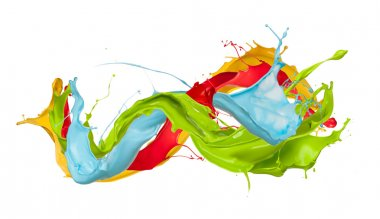 Colored splashes in abstract shape, isolated on white background stock vector
