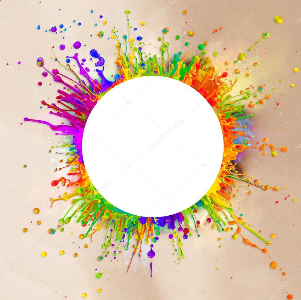 Salpicaduras de pintura coloreada en forma redonda foto de stock jag cz 43036743 - Salpicaduras de pintura ...