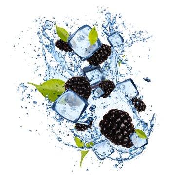 Frozen fruit with splash