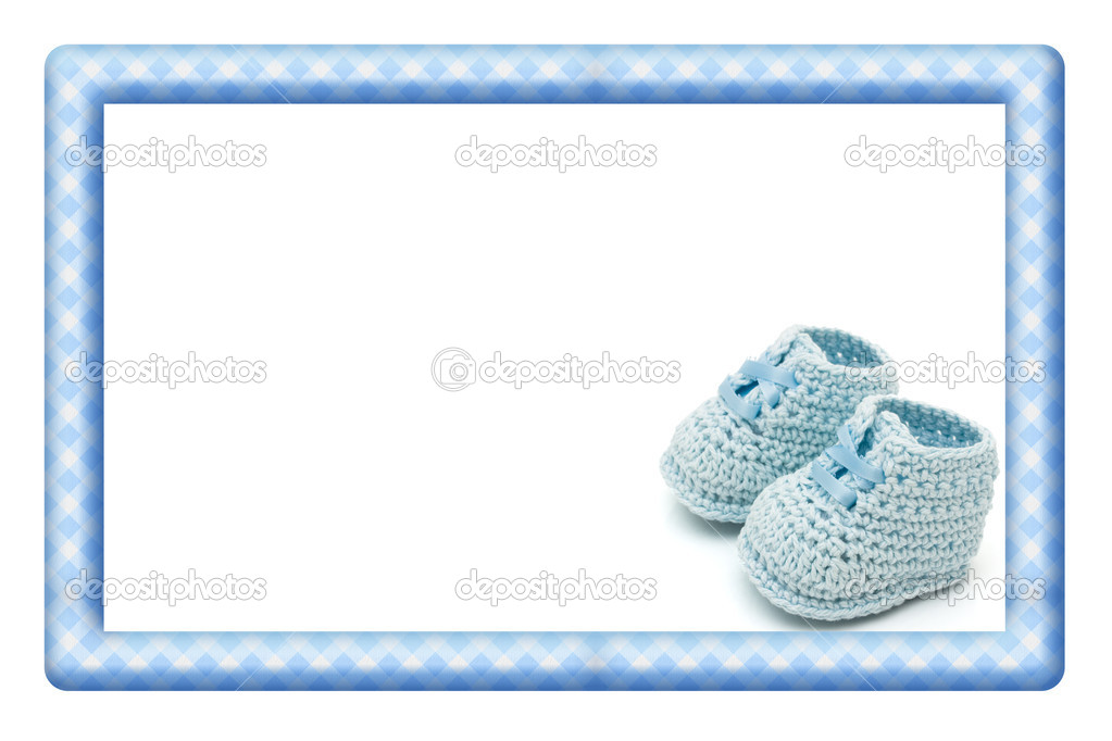 Blue and White Baby Frame for your message or invitation — Stock ...