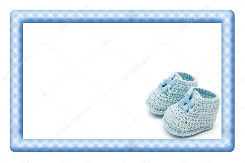 marco bebe azul y blanco para su mensaje o invitación — Fotos de ...