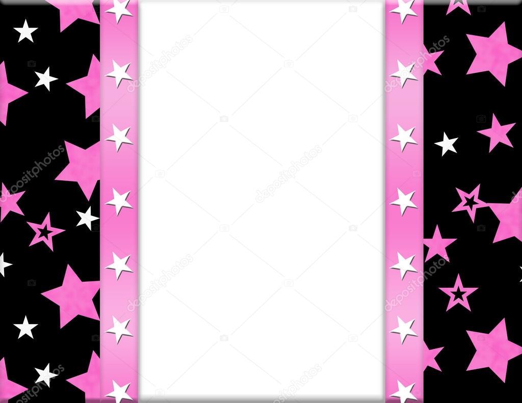 marco de color rosa, blanco, negro y estrella para su mensaje o ...
