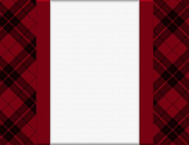 Red and Black Plaid Frame for your message or invitation with copy-space in the middle stock vector