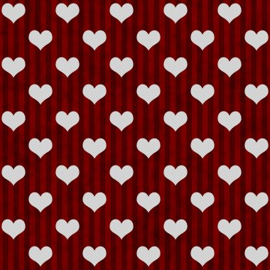 White Hearts and Red Stripes Textured Fabric Background that is seamless and repeats stock vector