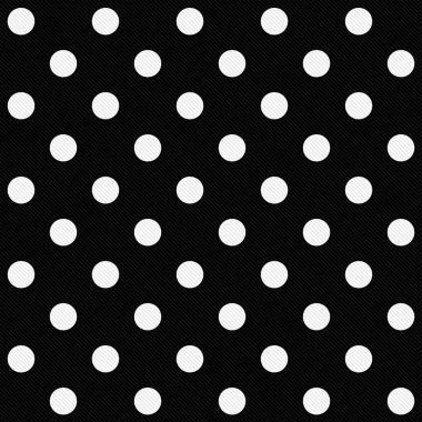 White Polka Dots on Black Textured Fabric Background