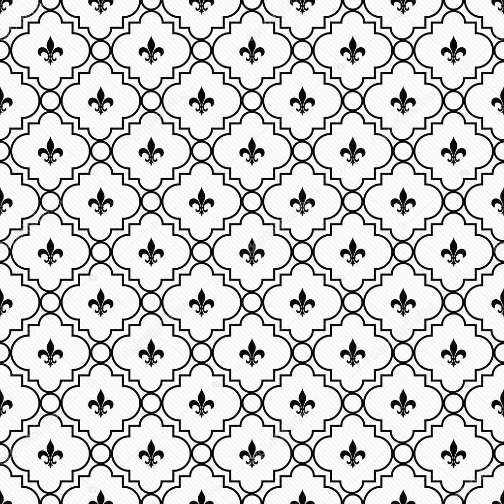 Fleur De Lys Blanc Et Noir Texture Tissu De Fond Photographie