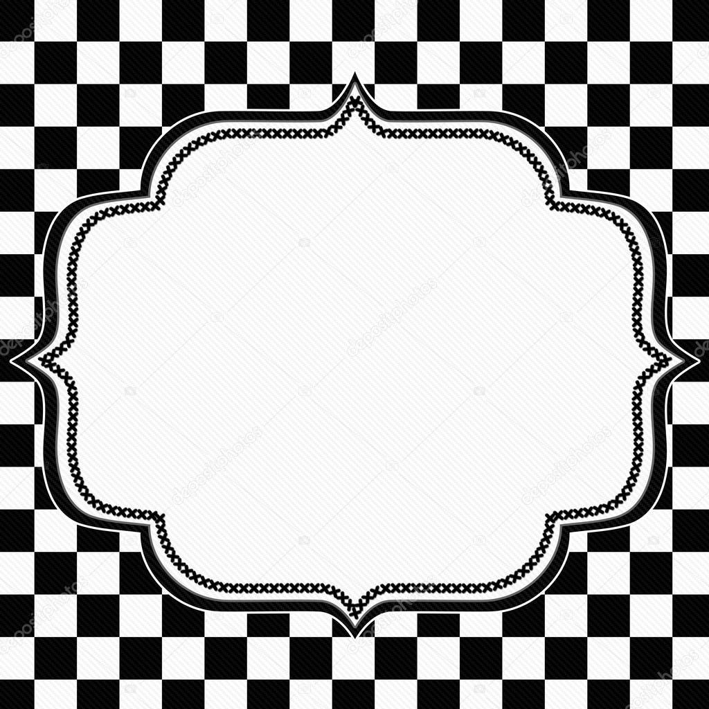 marco a cuadros blanco y negro con el bordado fondo — Foto de stock ...