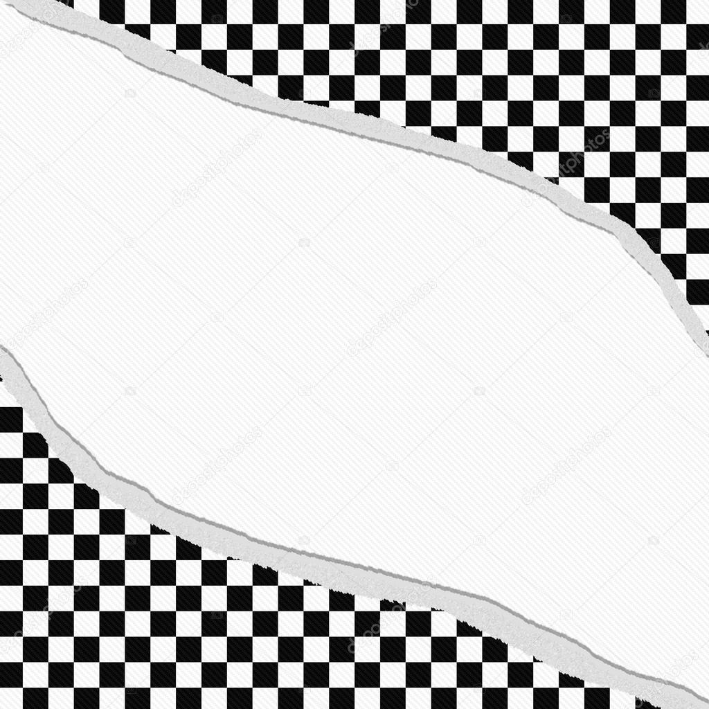 marco a cuadros blanco y negro con el fondo rasgado — Foto de stock ...