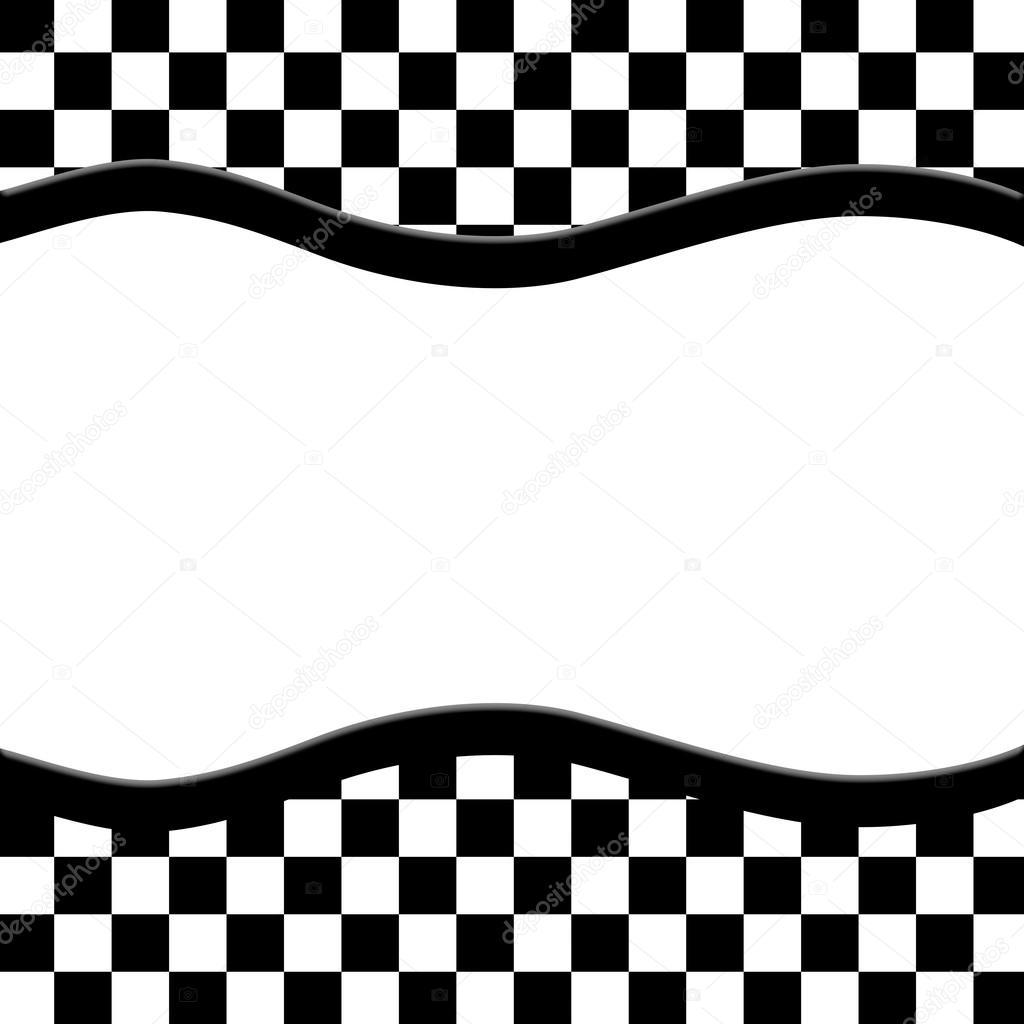 Marco a cuadros blanco y negro con fondo de cinta de onda - Cuadros con marco blanco ...