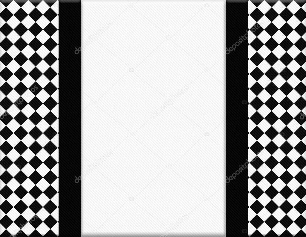 Black And White Checkered Frame With Ribbon Background Stock Photo