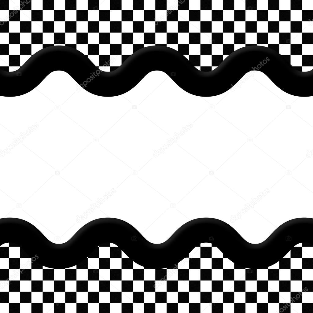 Black And White Checkered Frame With Wave Ribbon Background Stock