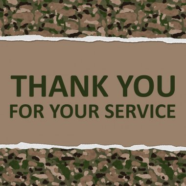 Camouflage Torn Background with text Thank You For Your Service, Thank You for Your Service stock vector