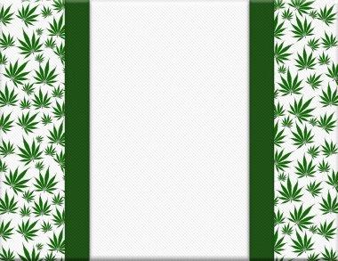 Marijuana Leaves Frame with Ribbon Background