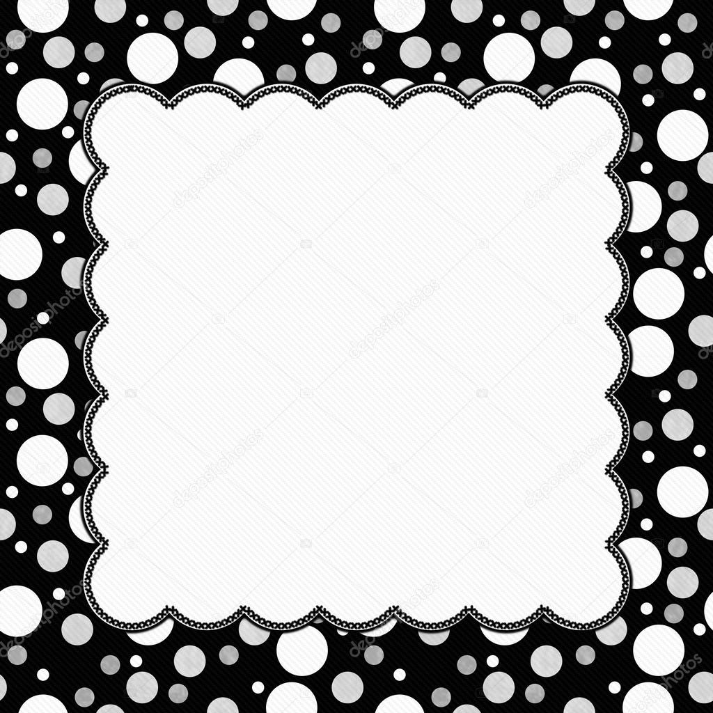 White, Gray and Black Polka Dots Frame with Embroidery Backgroun ...