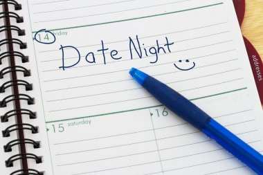 Planning your Date Night, A day blank day planner with a blue pen stock vector