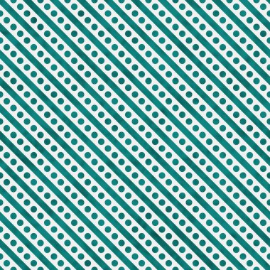 Bright Teal and White Small Polka Dots and Stripes Pattern Repea