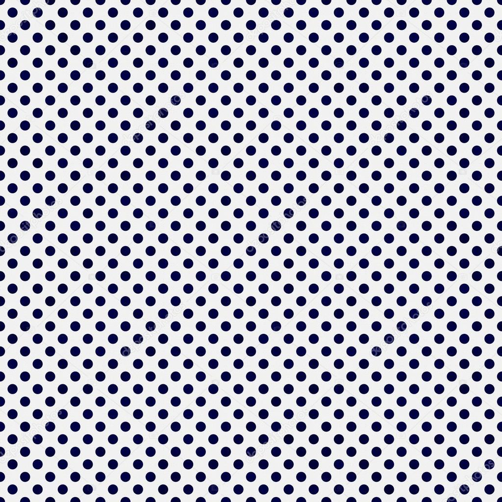 Navy Blue And White Small Polka Dots Pattern Repeat Background Stock Photo