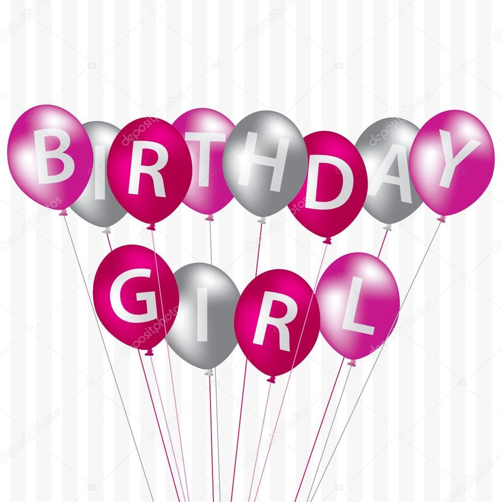 Verjaardagskaart Meisje Roze Ballon Stockfoto C Piccola 13620468
