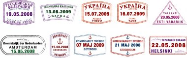 A collection of stylised Northern European passport stamps on a white background